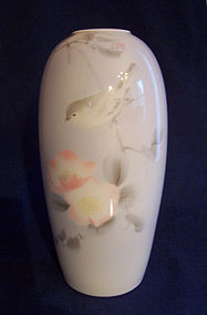 Japanese Fukagawa Porcelain Vase, Bird &amp; Flower Decor