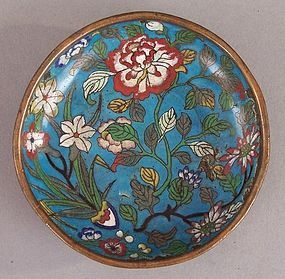 18th Century Chinese Cloisonne Saucer Dish, Gilt Traces